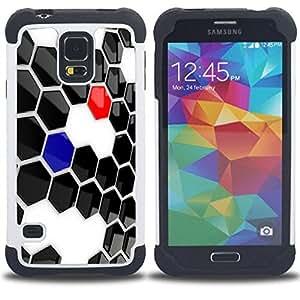 """SAMSUNG Galaxy S5 V / i9600 / SM-G900 - 3 en 1 impreso colorido de Altas Prestaciones PC Funda chaqueta Negro cubierta gel silicona suave (Resumen de Hexagon"""")"""
