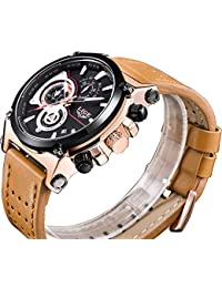 Men Quartz Sports Watch Chronograph Fashion Luxury Brand Waterproof Original Leather Brown Casual Business Calendar WristWatch