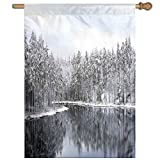 HUANGLING Lake Surrounded By Snow Covered Trees On A Cold Winter Day In Finland Reflections Home Flag Garden Flag Demonstrations Flag Family Party Flag Match Flag 27''x37''
