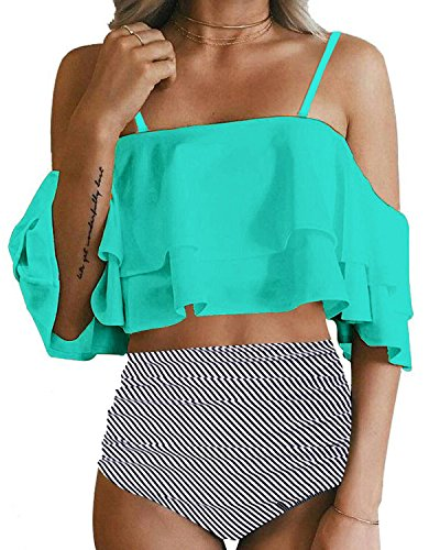 Tempt Me Women Two Piece Swimsuit Off Shoulder Ruffled Flounce Crop Top Bikini with Cutout Bottom Set Green XL