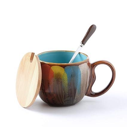 OPPP café con platillo de vela Copa Taza de cerámica Taza con Tapa con Cuchara Taza