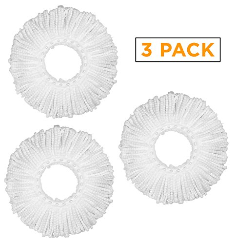 Arevo Microfiber Spin Mop Head Replacements, 360 Spinning Mop Refills, Reusable, Machine-Washable, Includes Set of (Spinning Head)