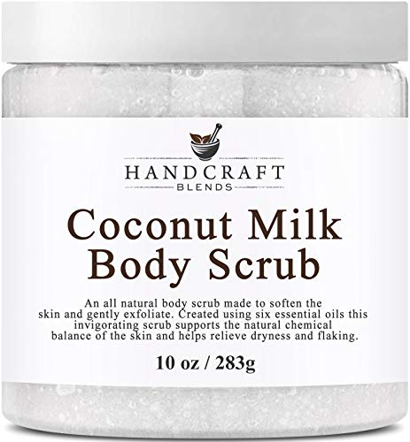 100% Natural Coconut Milk Scrub -A Deep Nourishing & Exfoliating Body Scrub Made With Dead Sea Salt and Essential Oils - Best Body Scrub for Cellulite, Stretch Marks, and Varicose Veins - 10 OZ