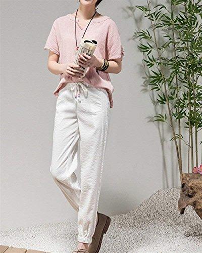 Elégant D'été Avec Vintage Beige Sport Unicolor Pantalon Femme Bretelles De Elastische Large Croisées Harem Mode Taille Veste Confortable Jolies Loisirs RAZqnAzW