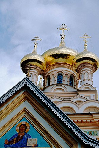 Gold Onion Dome Alexander Nevsky Cathedral, Russian Orthodox Church, Yalta, Ukraine Cindy Miller Hopkins/Danita Delimont Art Print, 20 x 30 inches ()