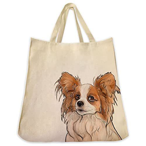Brown and White Papillon Dog Portrait Color Design Extra Large Reusable Cotton Twill Grocery Shopping Tote Bag