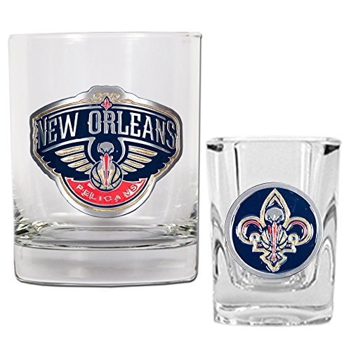 NBA New Orleans Hornets Rocks Glass & Square Shot Glass Set - Primary (Nhl Rocks Glass Square)