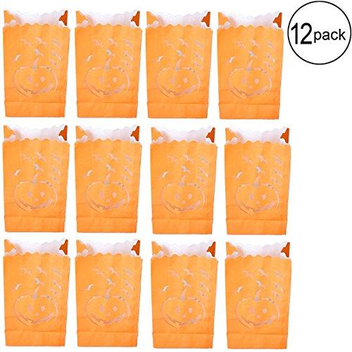 FRECI Halloween Luminary Bags Pumpkins Paper Lantern Luminary Bags Halloween Party Supplies,12-Pack -