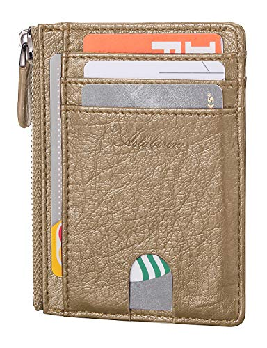 AslabCrew Minimalist Genuine Leather Zipper RFID Blocking Front Pocket Wallet, Slim Card Wallets, Mars-Oat