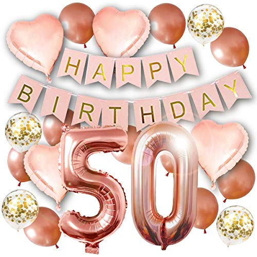 50th Birthday Decorations - Birthday Decorations: 40 Inch 50th Rose Gold Balloons, Pink and Gold Happy Birthday Decorations for Women, Happy Birthday Banner, Confetti Balloons, Rose Gold Heart Balloons