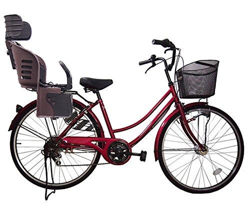 Lupinusルピナス 自転車 26インチ LP-266UA-KNRJ-BR 軽快車 シマノ外装6段ギア オートライト 樹脂製後子乗せブラウン B073LKX4R1 ワインレッド ワインレッド