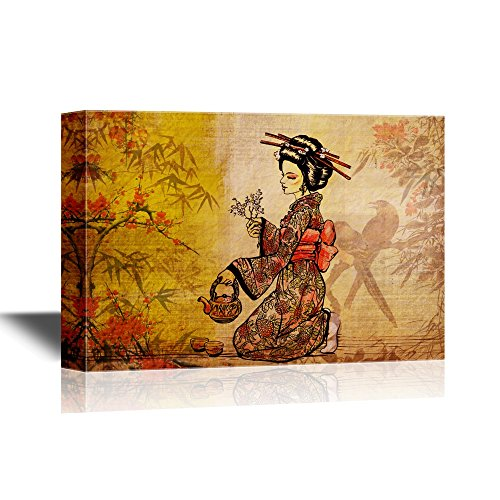 wall26 Japanese Culture Canvas Wall Art - Traditional Japanese Woman Dressed in Kimono with Teapot - Gallery Wrap Modern Home Decor | Ready to Hang - 16x24 inches (Antique Kimono Japanese)