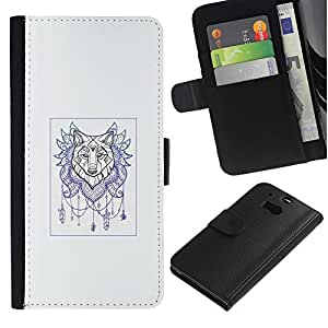 NEECELL GIFT forCITY // Billetera de cuero Caso Cubierta de protección Carcasa / Leather Wallet Case for HTC One M8 // Lobo Colector ideal - arte del tatuaje