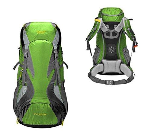 transpirable repelente al agua suspendida la descarga de escalada al aire libre mochila de senderismo viaje de campamento ( Color : Rust Red , Tamaño : 60L ) Verde