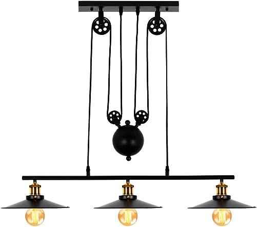 Lampundit Industrial 3-Light Pulley Island Pendant Light, Adjustable Kitchen Island Light Fixture for Indoor Pool Table Farmhouse Bar Table Ceiling Hanging Lighting