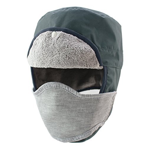 Home Prefer Mens Winter Warm Trapper Hat Waterproof Earflaps Russian Snow Ski Hat with Face Mask Gray