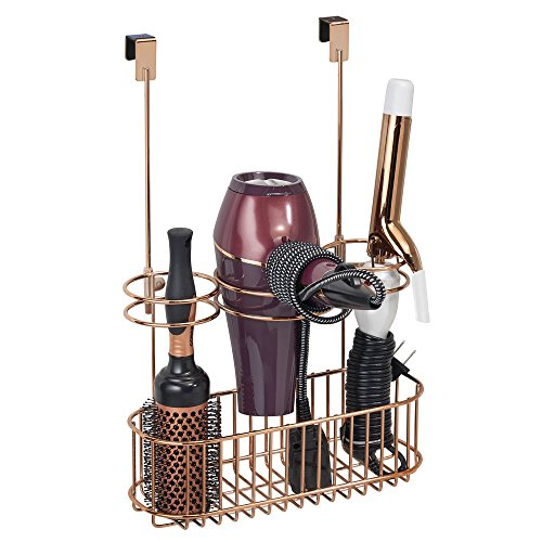 mDesign Over Door Bathroom Hair Care & Styling Tool Organizer Storage Basket Hair Dryer, Flat Iron, Curling Wand, Hair Straightener - Hang Inside Outside Cabinet Doors, 3 Sections, Rose Gold by mDesign