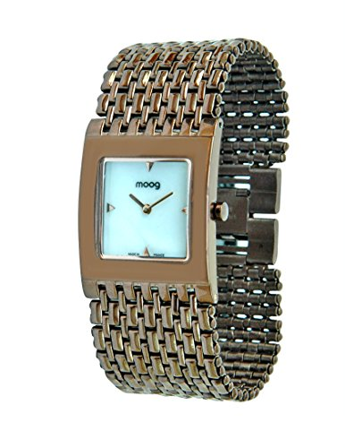 Moog Paris Luxury Women's Watch with White Mother of Pearl Dial, Brown Strap in Stainless Steel - M46058-007