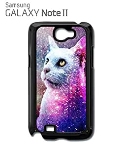Galaxy Cat Grumpy Kitten Mobile Cell Phone Case Samsung Note 2 Black