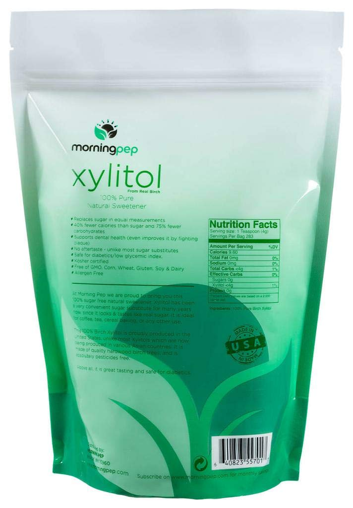 Morning Pep Pure Birch Xylitol (Keto Diet Friendly) Sweetener 2.5 LB (Not From Corn) NON GMO - KOSHER - GLUTEN FREE - PRODUCT OF USA. 40 OZ by Morning Pep (Image #2)