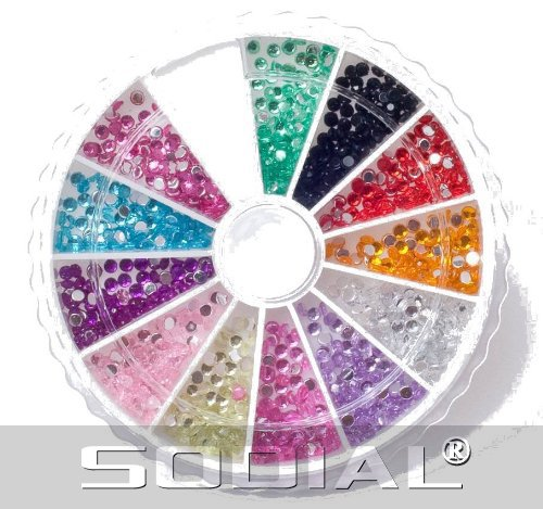SODIAL(R) Rhinestone Pack of 1200 Crystal Premium Quality 2mm Gemstones in 12 different colors, beauty accessory for women nails, fun and easy to apply with top coat or nail glue! - SODIAL Retail Packaging (Premium Quality Gemstones)