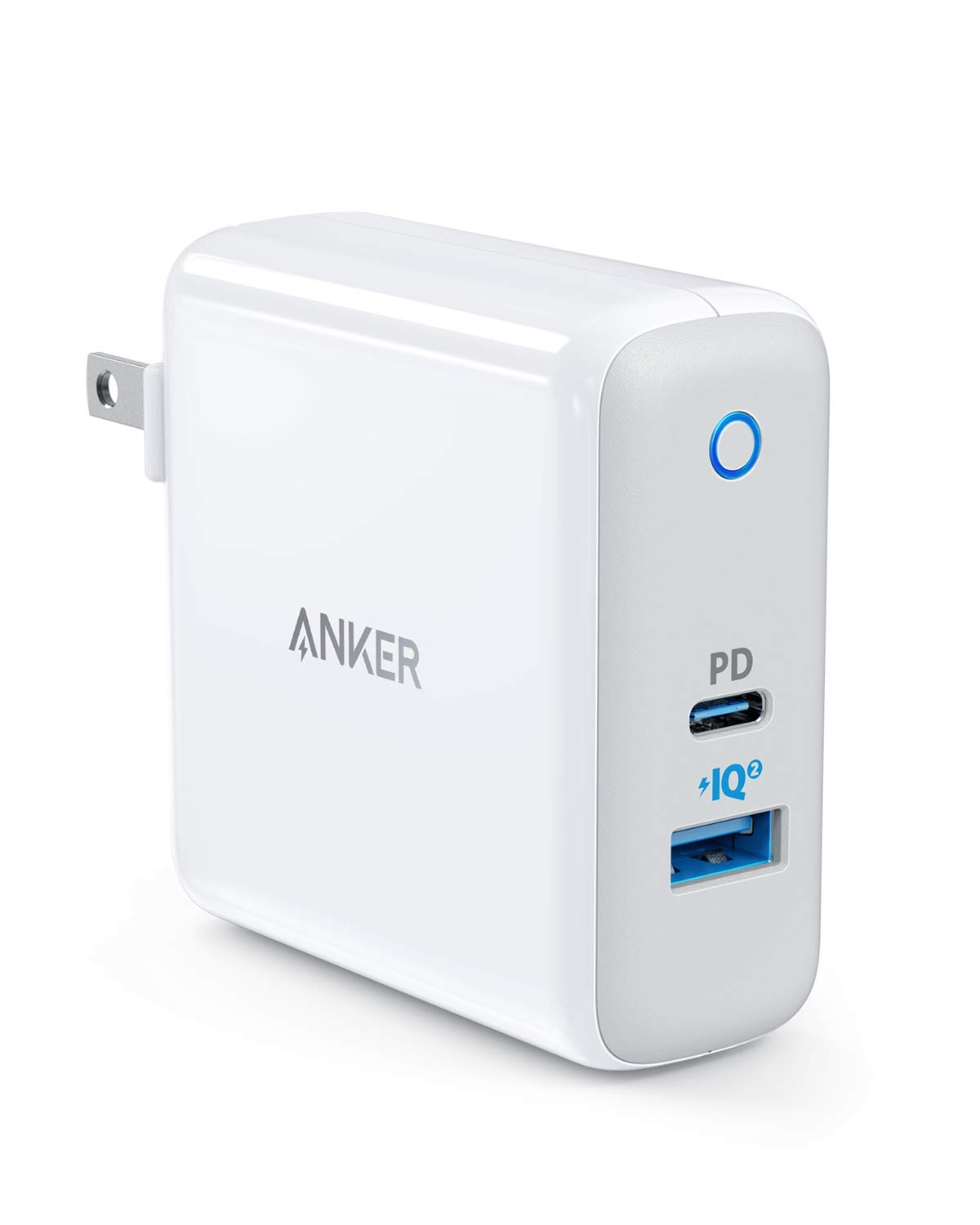 USB C Charger, Anker PowerPort II UL Certified 49.5W Wall Charger with Foldable Plug, One 30W Power Delivery Port for MacBook Air/iPad Pro 2018, iPhone XS/Max/XR/X/8/+, PowerIQ 2.0 for S10/S9 and More by Anker