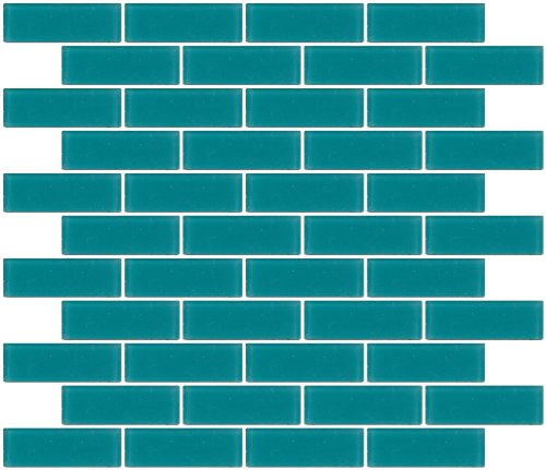 Susan Jablon Mosaics - 1x3 Inch Medium Teal Green Frosted Glass Subway Tile Frosted Glass Tiles
