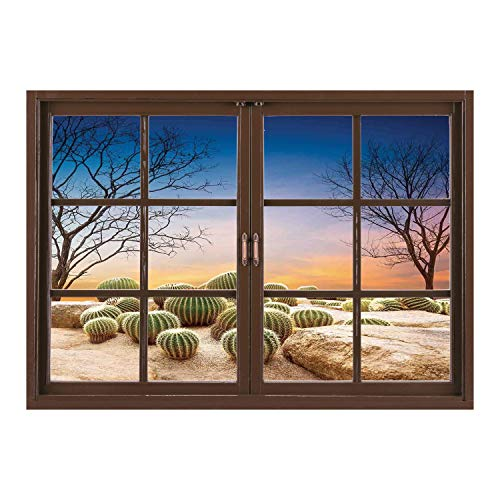 SCOCICI Removable 3D Windows Frame Wall Mural Stickers/Cactus Decor,Cactus Balls with Spikes on a Montain Desert Sand Mexican Landscape Photo,Multicolor/Wall Sticker Mural -