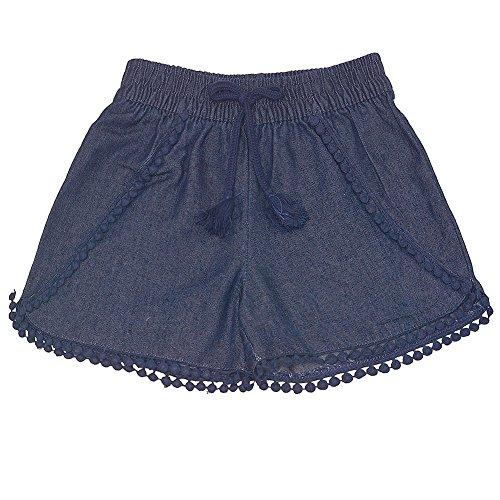 Accent Capri Set - dELiA's girl Big Girls Dark Blue Lace Pom-Pom Trim Tassel Tie Accent Summer Shorts 7-8