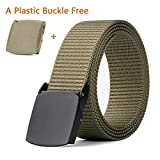 Mens Tactical Duty Nylon Webbing Belt 1.5'', MoAnBee Military Belt Metal Buckle (Fit up to 44in Waist, B-1 Coyote Tan(Black Buckle))