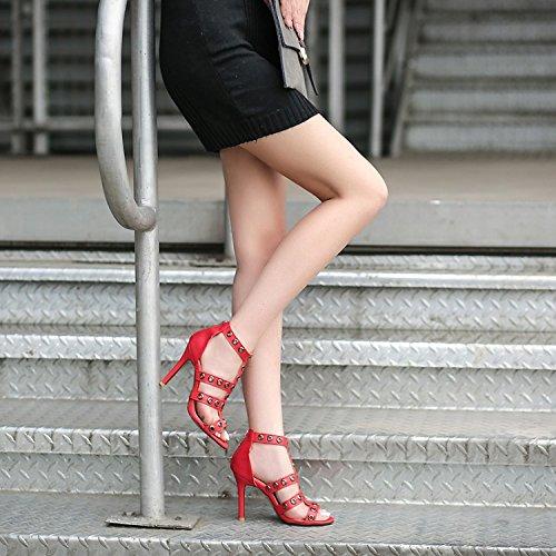 Tacón de con ZHZNVX Alto Metal Mujer Sandalias Decorativa 39 Sandalias con Boca de Fina Rosa de Mujer de Fina wgtg5qxYS