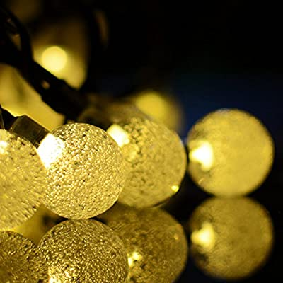 Vmanoo Globe Battery Operated Timer String Lights 30 LED Bubble Crystal Ball Fairy Christmas Lighting Decor For Outdoor, Indoor, Garden, Patio, Bedroom Wedding Decorations (Warm White)