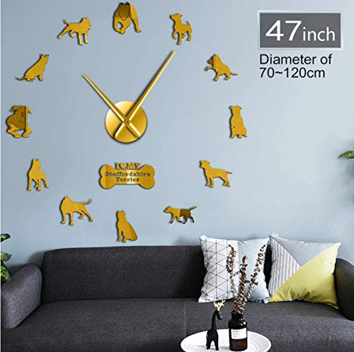 WANGJRU 27Inch American Pit Bull Decorative 3D DIY Wall Clock American Staffordshire Terrier Fashion Home Clock with Mirror Numbers Stickers 2