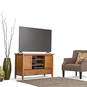 "Simpli Home Warm Shaker Solid Wood TV Media Stand for TVs up to 52"", Honey Brown"