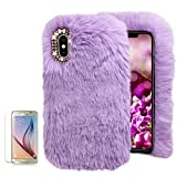 For Samsung Galaxy A8 2018 Soft Warm Plush Case [with Free Screen Protector],Funyee Artificial Fluffy Villi Wool Cute Plush Soft Silicone TPU Case for Samsung Galaxy A8 2018 with Shiny Diamond,Purple