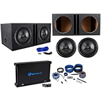 (2) Precision Power P.12D2 12 800w RMS Subwoofers+Vented Box+Mono Amp+Wire Kit