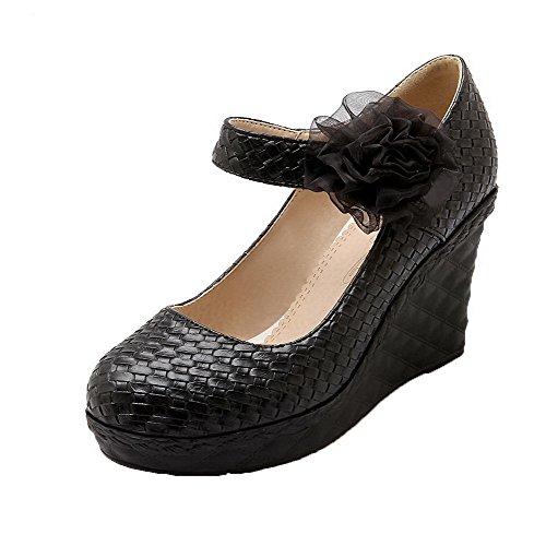 VogueZone009 Women's Hook-and-Loop Round-Toe High-Heels PU Floral Pumps-Shoes Black iUReub