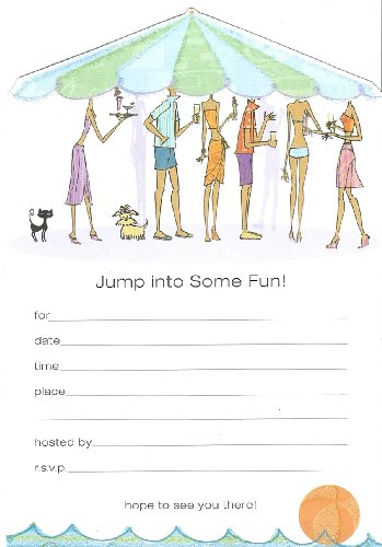 Jump Into Some Fun! Glitter Embellished Party Invitations 8 Count