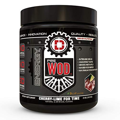 PREWOD Pre Workout - Creatine Free Nitric Oxide (NO) Boosting Preworkout Supplement | Caffeine, Citrulline Malate, Beta Alanine | Focus & Energy Drink Powder (Cherry Lime for Time)