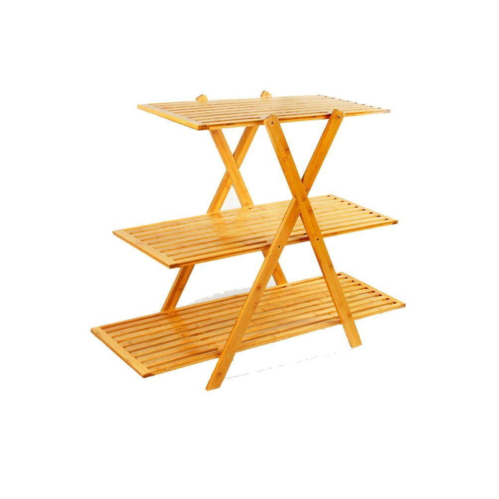 Flower Stand- Bamboo Rattan Creative Pieghevole Fiore Rack Fiori Stand Stand Espositore Piantana Pavimento Balcone Soggiorno Potted Shelf Plant 35x104x80cm Felice Home