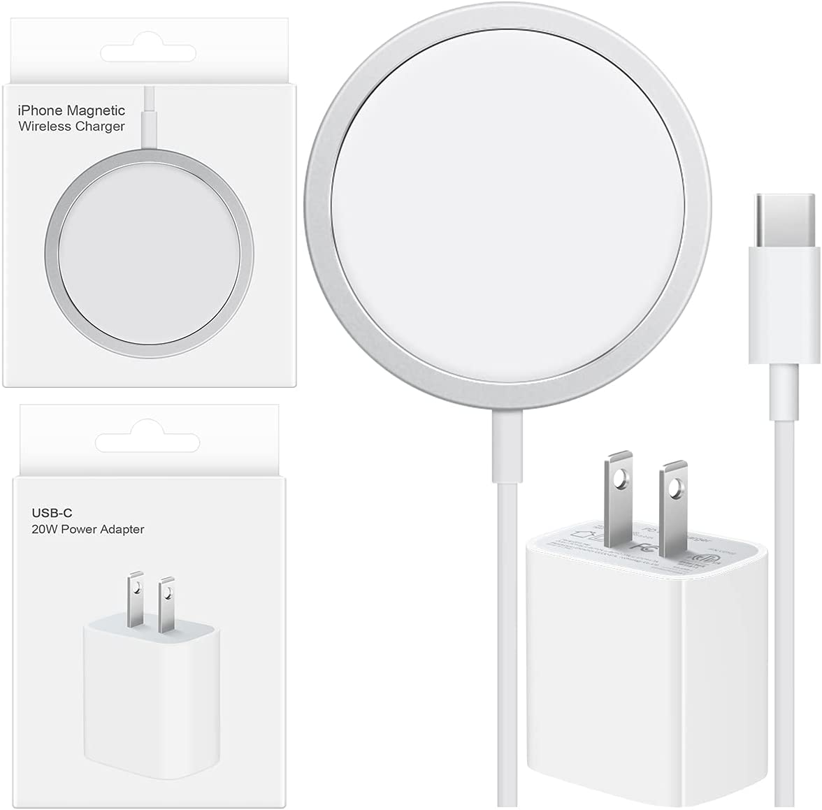 iPhone 12 Fast Magnetic Wireless Charger with USB C PD Fast Charger Compatible with Apple iPhone 12/12 Pro/12 Mini/12 Pro Max/AirPods Pro