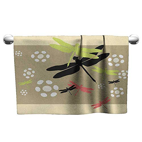 (Antonia Reed Kitchen Towels,Dragonfly,Cute Floral Pattern with Abstract Daisies Nature Wildlife Inspired Colorful Print, Multicolor Soft Bath Towel for Pool, Swimming, Travel, Beach Chair,14