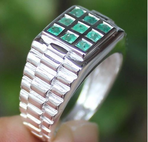 Men's Stunning! Colombian Emerald Ring Solid Silver 925 ()