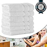 Hand Towels for Salon 700GSM 15.75''x31.5'', Luxury Hotel Quality for Spa/Bathroom/Bath, Organic Cotton Soft Thick and Fluffy (6 White Pack Bulk)