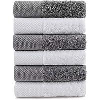 Toallas de mano de algodón, muy absorbentes y suaves, para baño, juego de 6 unidades, color gris y blanco, 35,5 x 76,2…