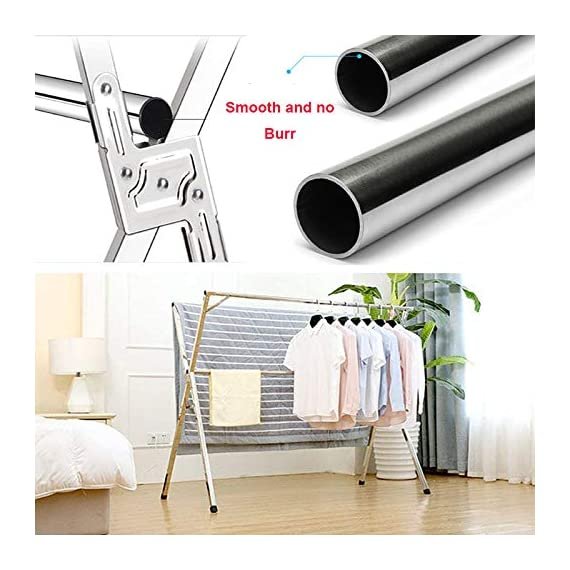 Reliancer Free Installed Clothes Drying Rack Stainless Steel Foldable Rack Hanger Space Saving Retractable 43.3-59 inch Clothes Rack Adjustable Clothes Hanger Rolling Rack with 4 Casters & 10 Hooks - 【All Stainless Steel Construction】The material including the fastenings is rust-proof stainless steel, perfect for indoor or outdoor drying, will not rust even under rainy environment 【Extensible Horizontal Rods】Both rods can be extended from 43.3'' to 59'', the max size is 59x30x52 inch, add more room for longer garments like pants and long dresses 【Free Installation and Save Space】Retractable and foldable, easy to open and fold for compact storage to save space, no need tools to install. The folding size is just 59x4.72x3.54 inch. You can just put it in any small corner when you do not need - laundry-room, entryway-laundry-room, drying-racks - 51XuZjyEadL. SS570  -