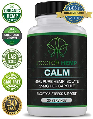 Doctor Hemp Calm | for Anxiety, Depression & Stress Relief | 750mg of Pure Organic Hemp Extract + Ashwagandha, Rhodiola, 5-HTP, L-Theanine, GABA | Stress Less, Do More | Vegan, Non-GMO | 30 Serv