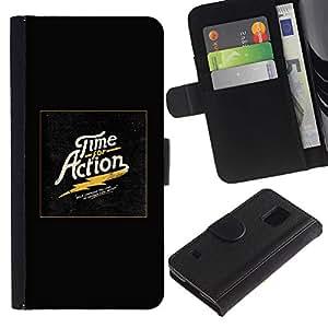A-type (Tiempo Acción oro impresiones Negro eléctrico) Colorida Impresión Funda Cuero Monedero Caja Bolsa Cubierta Caja Piel Card Slots Para Samsung Galaxy S5 V SM-G900