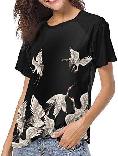 Womens T-Shirt Japanese White Cranes Short SleeveTee Comfortable Women's Baseball Short Sleeves Casual Tank Tops T-Shirts
