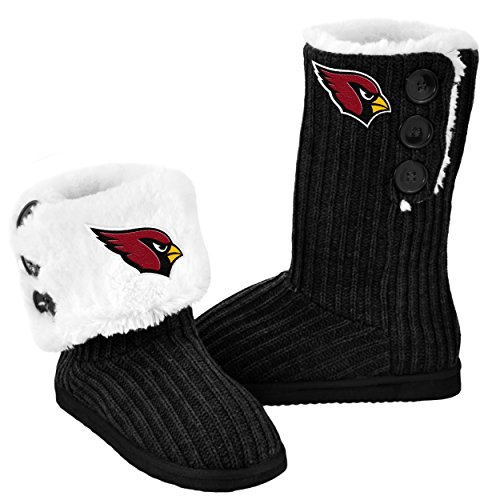 Cardinal Slippers (NFL Football Ladies Knit High End Button Boot Slippers - Black (Arizona Cardinals, Medium))